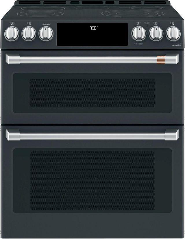 """Café™ 30"""" Matte Black Slide In Double Oven Electric Range-CES750P3MD1"""