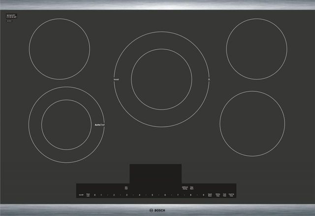 """Bosch Benchmark® Series 31"""" Black with Stainless Steel Frame Electric Cooktop-NETP068SUC"""