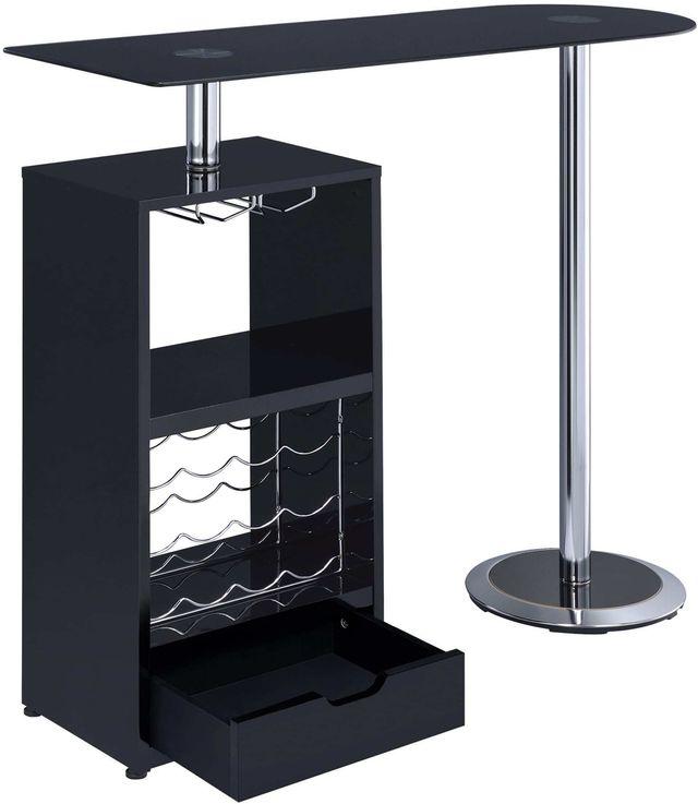 Coaster® CoasterEveryday Glossy Black 1-Drawer Bar Table-120451