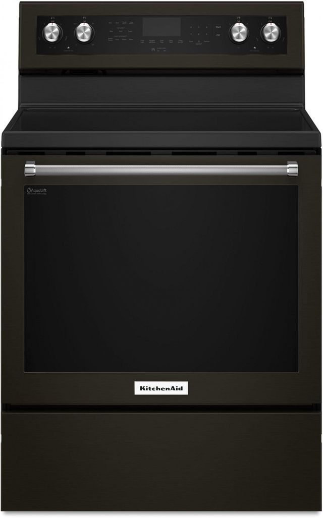 """KitchenAid® 30"""" Black Stainless Steel with PrintShield™ Finish Free Standing Electric Convection Range-KFEG500EBS"""