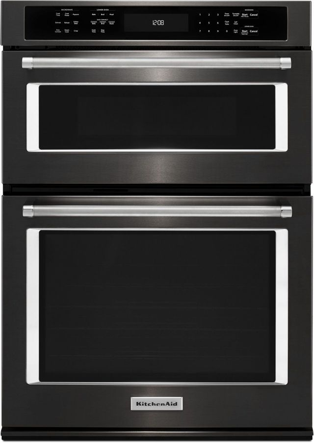 """KitchenAid® 27"""" Black Stainless Steel with PrintShield™ Finish Electric Oven/Microwave Combo Built In-KOCE507EBS"""