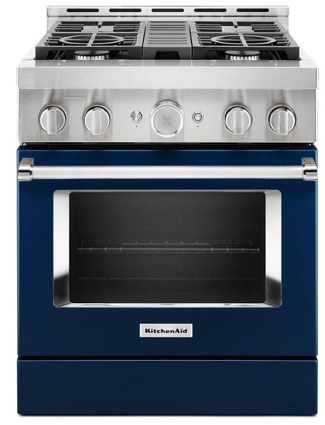 Cuisinière à gaz intelligente style commercial de 30 po KitchenAid® de 4,1 pi³ - Encre bleue-KFGC500JIB