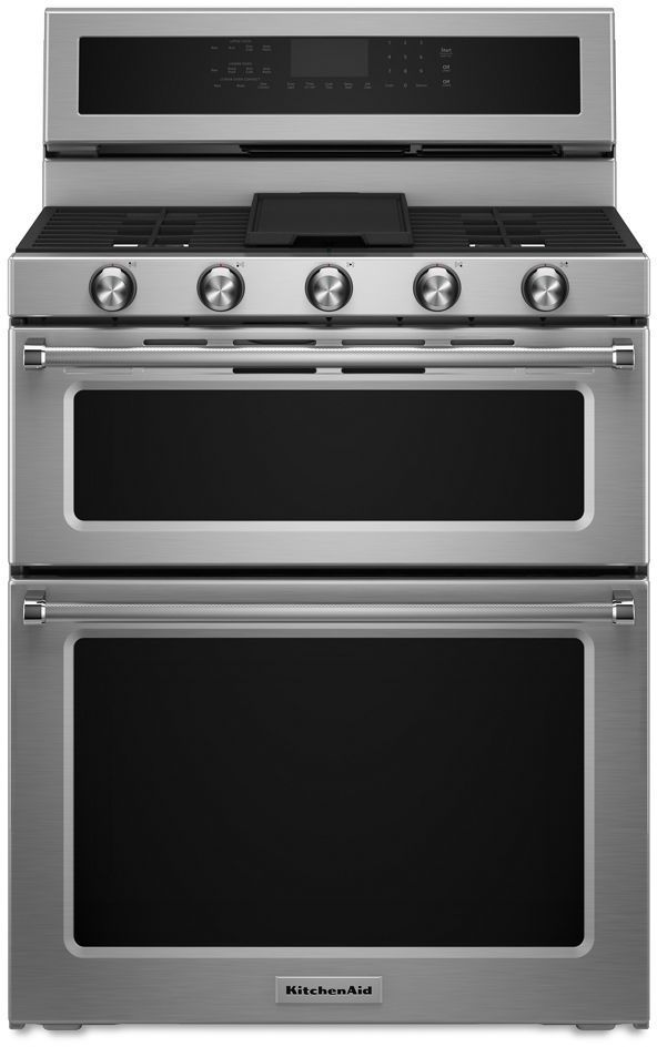 """KitchenAid® 30"""" Stainless Steel Free Standing Gas Double Oven Range-KFGD500ESS"""