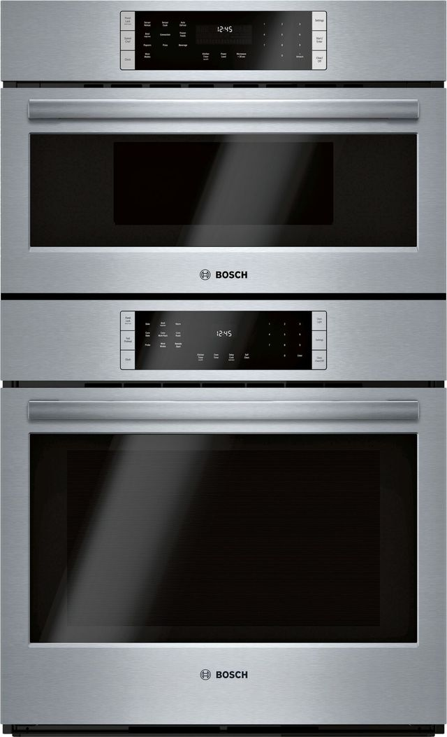 """Bosch 800 Series 30"""" Stainless Steel Electric Oven/Micro Combo Built In-HBL8753UC"""