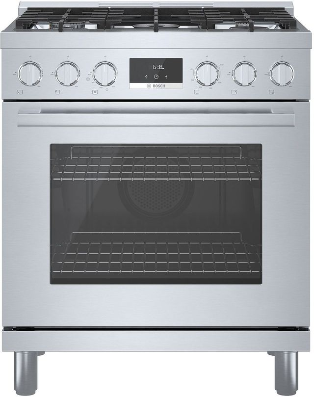 """Bosch 800 Series 30"""" Stainless Steel Industrial Style Natural Gas Range-HGS8055UC"""