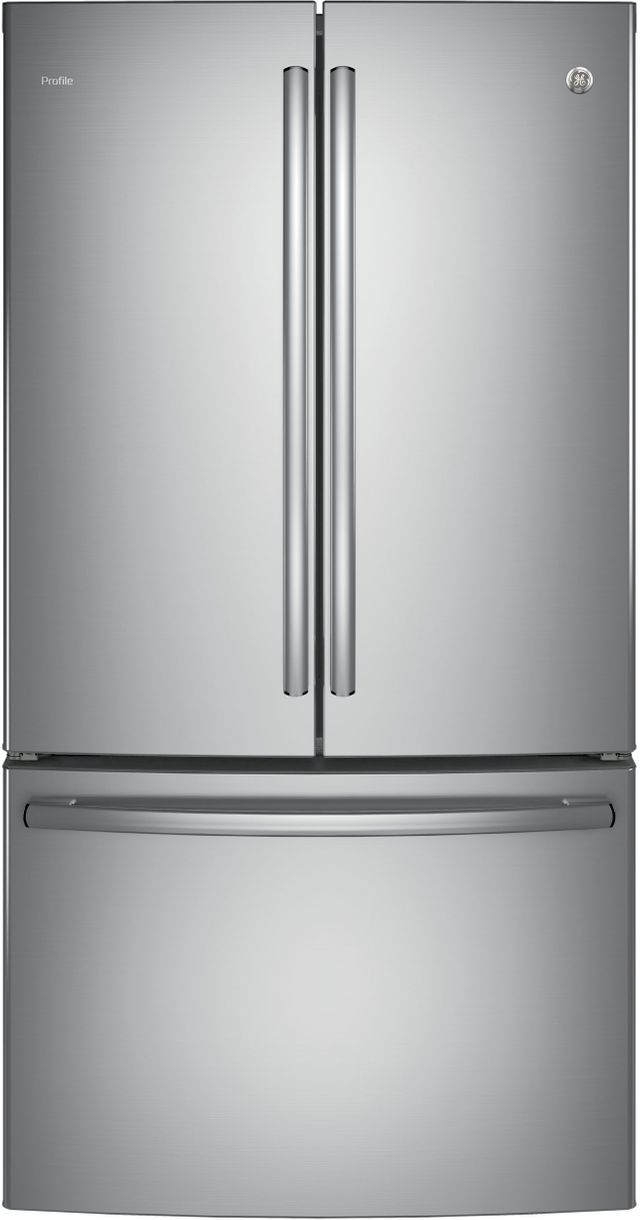 GE Profile™ 23.09 Cu. Ft. Stainless Steel Counter Depth French Door Refrigerator-PWE23KSKSS