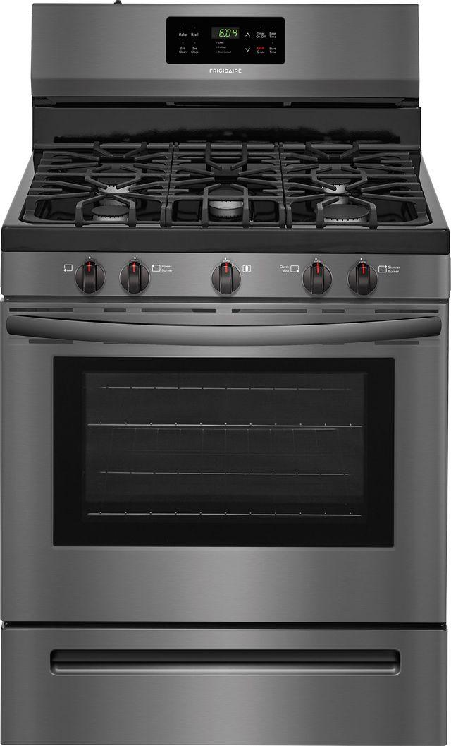 "Frigidaire® 30"" Black Stainless Steel Free Standing Gas Range-FFGF3054TD"