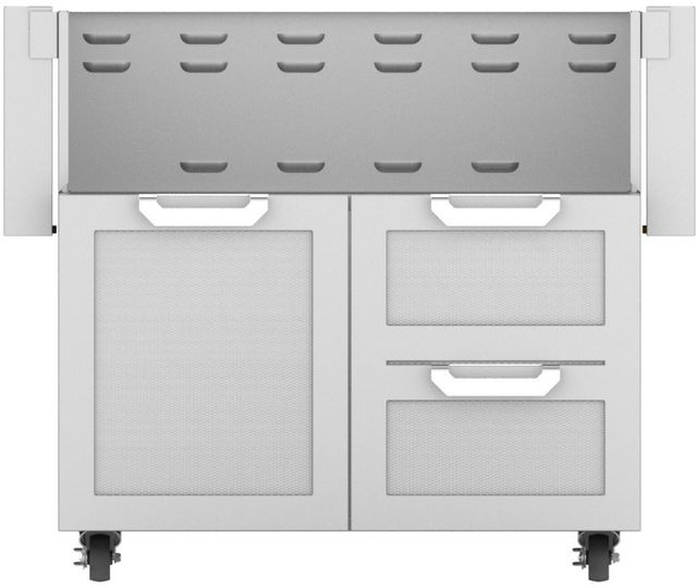 """Hestan Professional 36"""" Outdoor Double Drawer and Door Tower Cart-Stainless Steel-GCR36"""
