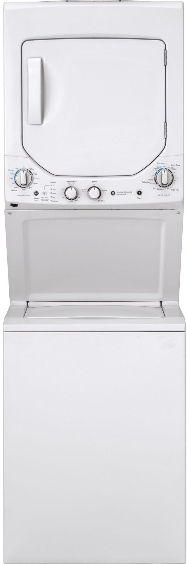 GE® Unitized Spacemaker® Stack Laundry-White On White-GUD24ESSMWW