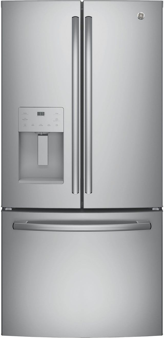 GE® 17.5 Cu. Ft. Counter Depth French Door Refrigerator-Stainless Steel-GYE18JSLSS