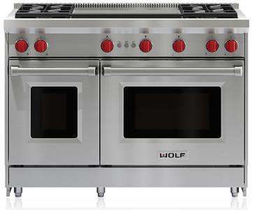 "Wolf® 48"" Pro Style Gas Range-Stainless Steel-GR484DG"