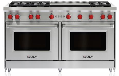 "Wolf® 60"" Pro Style Gas Range-Stainless Steel-GR606DG"