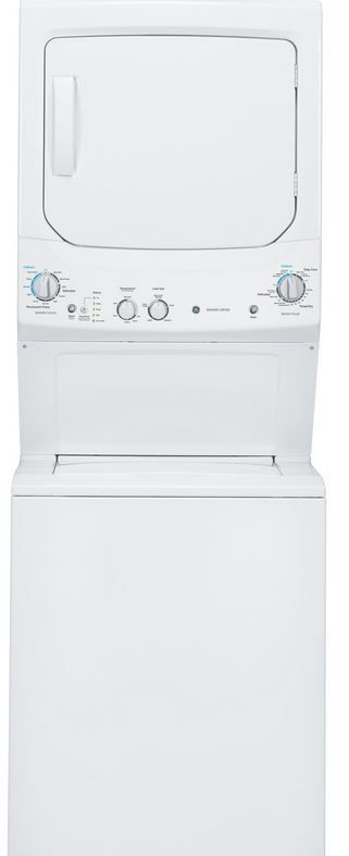 GE® Unitized Spacemaker® Electric Washer/Dryer Stack Laundry-White-GUD27ESSJWW