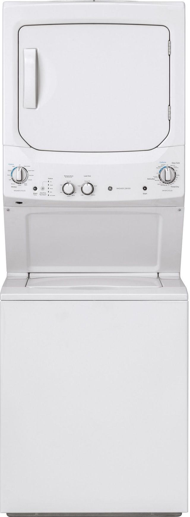 GE® Unitized Spacemaker® 3.8 Cu. Ft. Washer and 5.9 Cu. Ft. Electric Dryer-White On White-GUD27ESSMWW