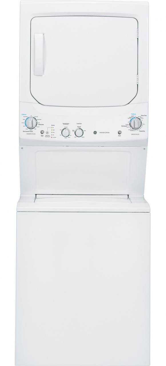 GE® Unitized Spacemaker® Gas Washer/Dryer Stack Laundry-White-GUD27GSSJWW