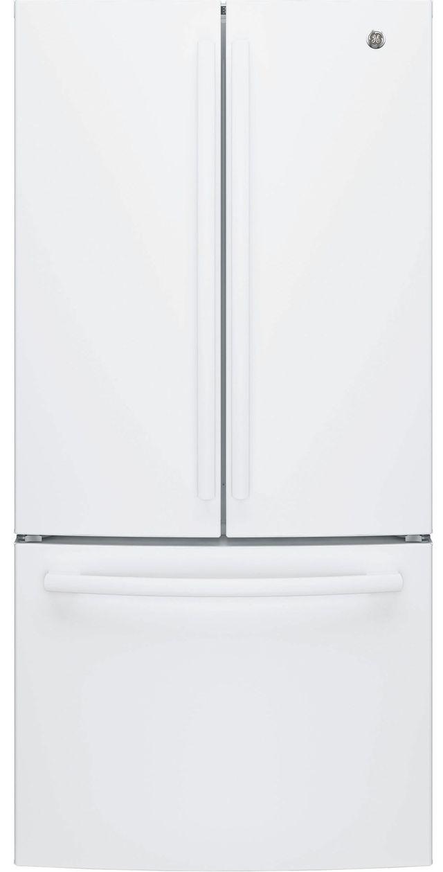 GE® 18.6 Cu. Ft. Counter Depth French Door Refrigerator-White-GWE19JGLWW