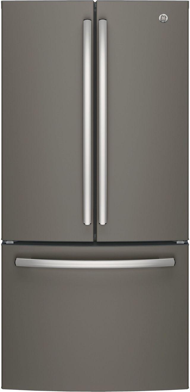 GE® 18.6 Cu. Ft. Counter Depth French Door Refrigerator-Slate-GWE19JMLES