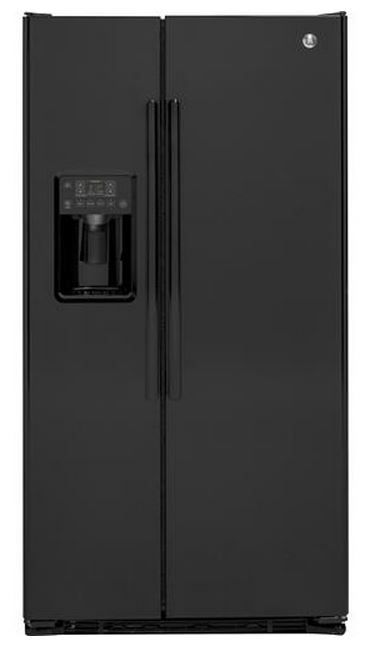 GE® 22.0 Cu. Ft. Counter Depth Side By Side Refrigerator-Black-GZS22DGJBB