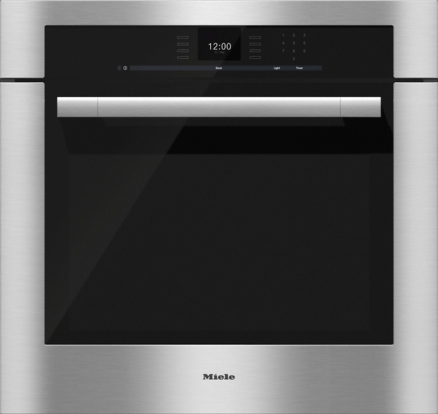 """Miele ContourLine 28.44"""" Electric Single Oven Built In-Clean Touch Steel-H6580BP"""