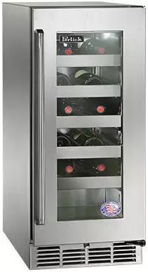 """Perlick Signature Series 15"""" Outdoor Wine Reserve-Wood Overlay/Glass-HP15WO-4L"""