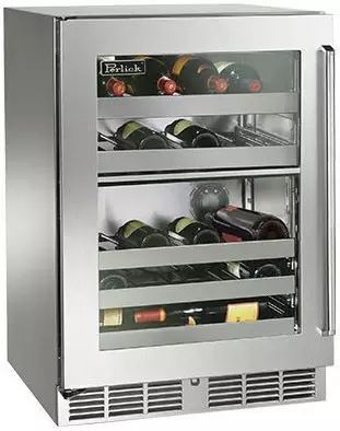 """Perlick Signature Series 24"""" Outdoor Dual-Zone Wine Reserve-Stainless Steel/Glass-HP24DO-3L"""