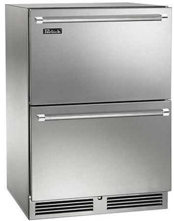 Perlick Signature Series 5.0 Cu. Ft. Outdoor Dual-Zone Freezer/Refrigerator Drawers-Stainless Steel-HP24ZO-5