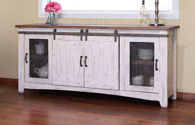 "International Furniture© 360 Pueblo White 80"" Stackable TV Stand-IFD360STAND-80"