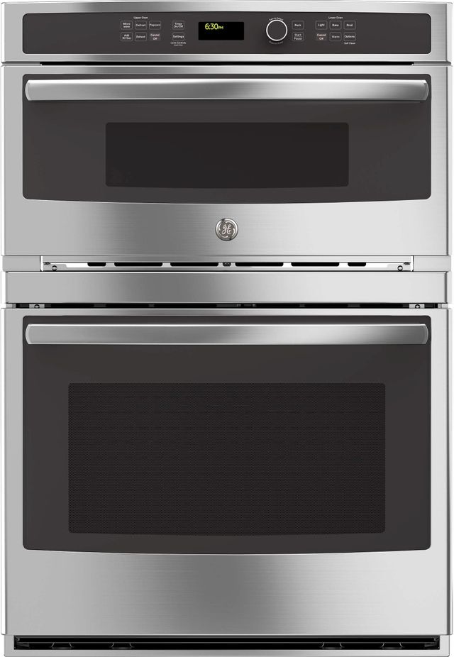 """GE® 29.75"""" Stainless Steel Combination Double Wall Oven-JT3800SHSS"""