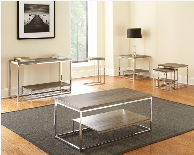 Steve Silver Co. Lucia 2 Piece Nesting Table-Gray/ Brown-LU350NT
