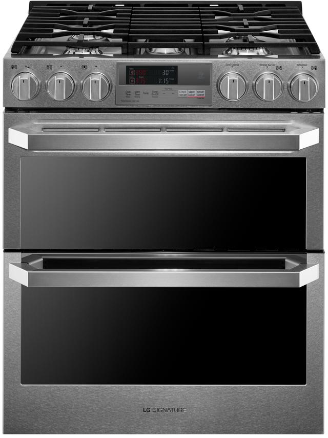 "LG Signature 30"" Textured Steel™ Slide In Dual Fuel Double Oven Range-LUTD4919SN"