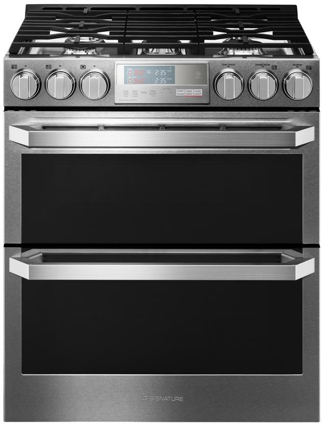 "LG Signature 30"" Textured Steel™ Slide In Double Oven Gas Range-LUTG4519SN"