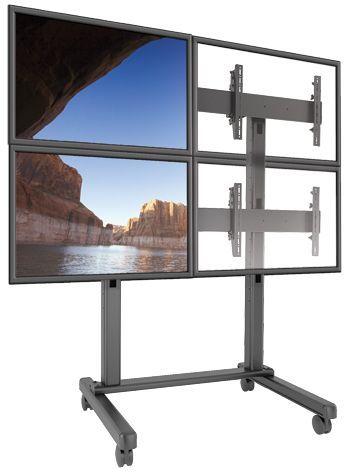 Chief® FUSION™ Black 2 x 2 Micro-Adjustable Large Freestanding Video Wall Cart-LVM2X2U