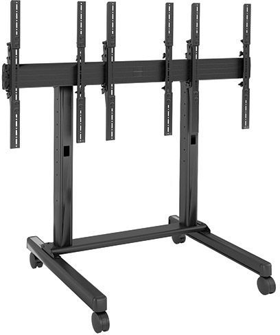 Chief® FUSION™ Black 3 x 1 Portrait Micro-Adjustable Large Freestanding Video Wall Cart-LVM3X1UP