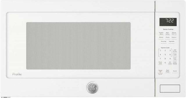 GE Profile™ 2.2 Cu. Ft. White Countertop Sensor Microwave Oven-PES7227DLWW