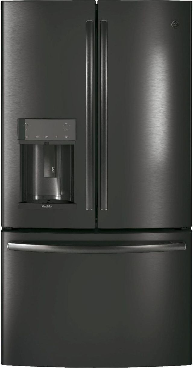 GE Profile™ 27.77 Cu. Ft. Black Stainless Steel French Door Refrigerator-PFD28KBLTS