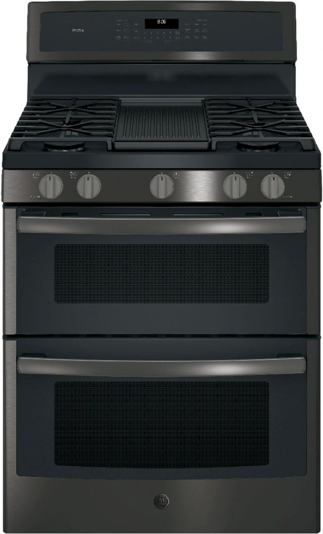 """GE Profile™ 30"""" Black Stainless Steel Free Standing Gas Double Oven Convection Range-PGB960BEJTS"""