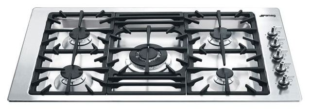 """Smeg 36"""" Classic Gas Cooktop-Stainless Steel-PGFU36X"""