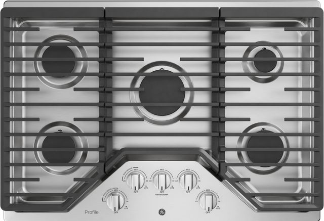 """GE Profile™ 30"""" Stainless Steel Built-In Gas Cooktop-PGP7030SLSS"""