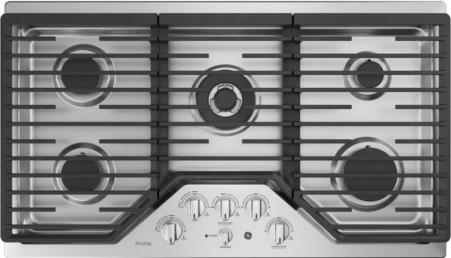 """GE® Profile™ 36"""" Stainless Steel Gas Cooktop-PGP9036SLSS"""