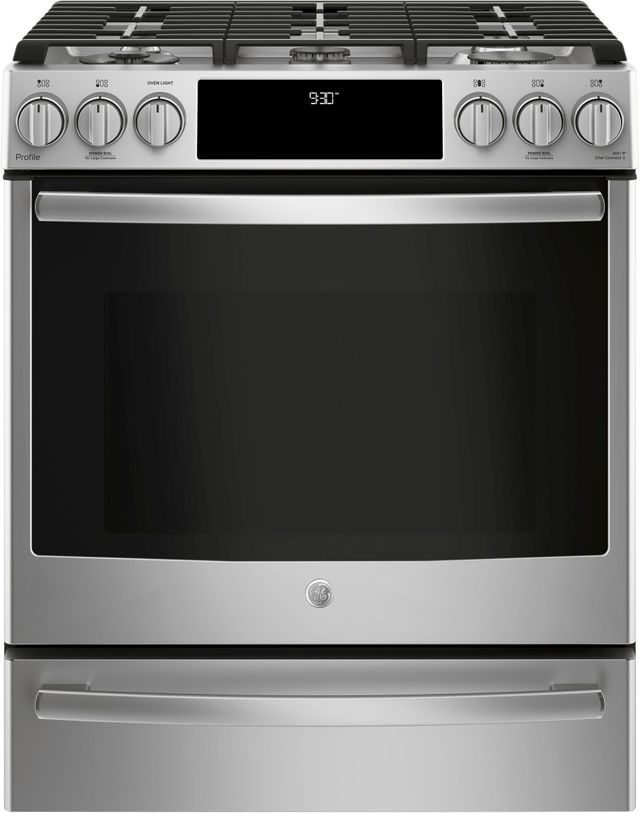 """GE Profile™ 30"""" Stainless Steel Slide-In Front Control Gas Range-PGS930SELSS"""
