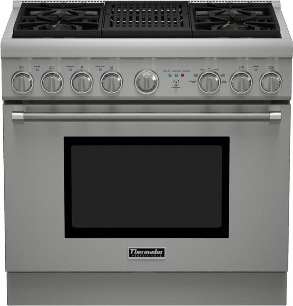 """Thermador® Professional Series Pro Harmony® 36"""" Pro Style Dual Fuel Range-Stainless Steel-PRD364NLHU"""