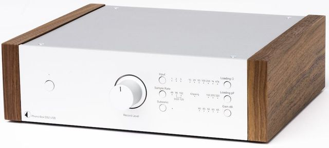 Pro-Ject Silver Phono Preamplifier with Walnut Side Wooden Panels-Phono Box DS2 USB-SV-WL