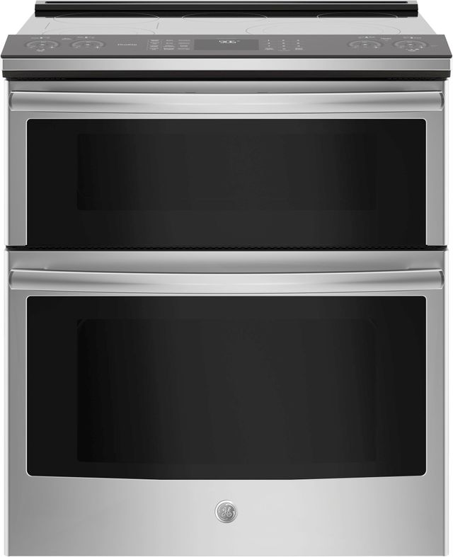 """GE Profile™ 30"""" Stainless Steel Slide-In Electric Double Oven Convection Range-PS960SLSS"""