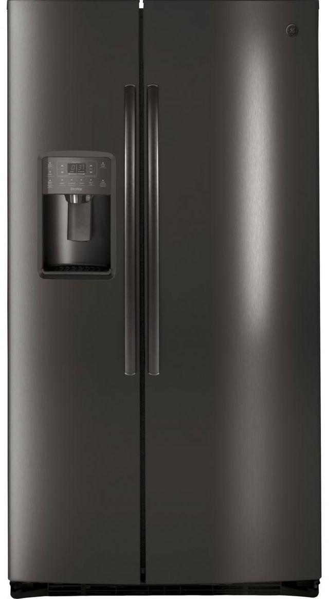 GE Profile™ 25.26 Cu. Ft. Black Stainless Steel Side-by-Side Refrigerator-PSE25KBLTS
