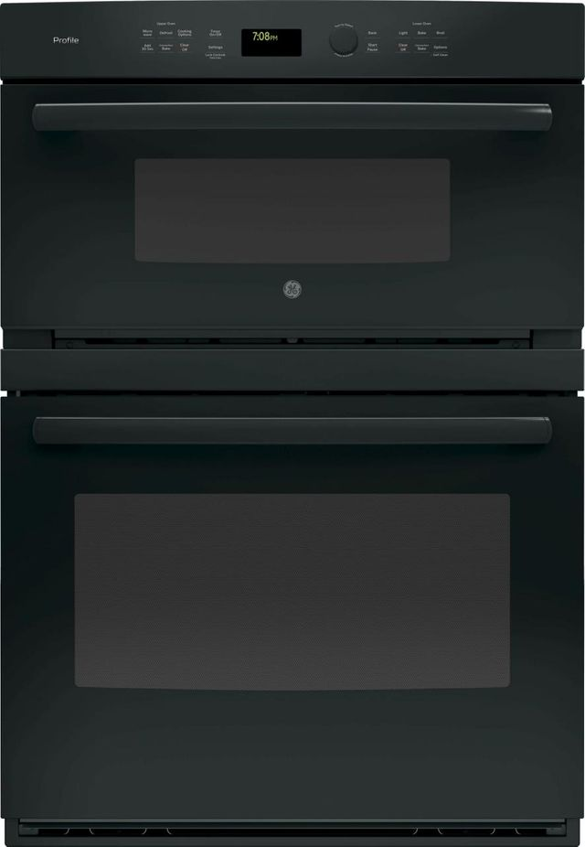 """GE Profile™ 29.75"""" Black Electric Built In Combination Microwave/Oven-PT7800DHBB"""
