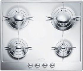 """Smeg 24"""" """"Piano Design"""" Gas Cooktop-Stainless Steel-PU64ES"""