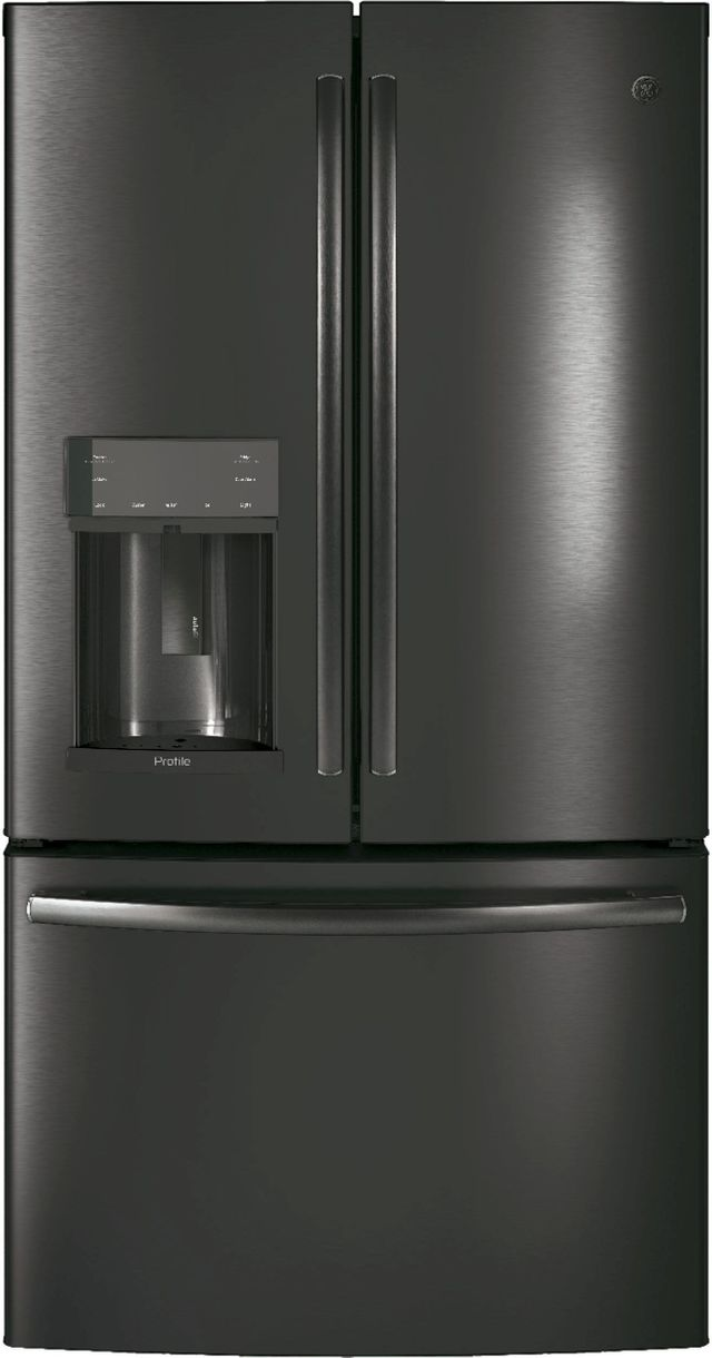 GE Profile™ 22.23 Cu. Ft. Black Stainless Steel Counter Depth French Door Refrigerator-PYE22KBLTS
