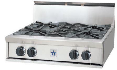 "BlueStar 30"" Gas Rangetop-Stainless Steel-RGTNB304BV1"