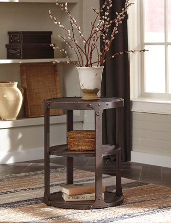 Shofern Round End Table-Rustic Brown-T702-6