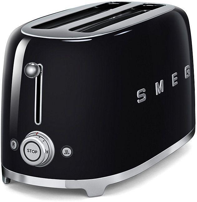 Smeg 50's Retro Style 4 Slice Toaster-Black-TSF02BLUS